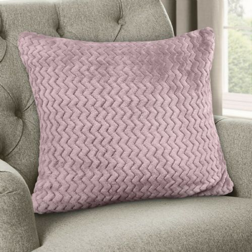 Large Luxury Chevron Zig Zag Super Soft Velvet Plush Scatter Cushion Plain Mauve 56cm x 56cm